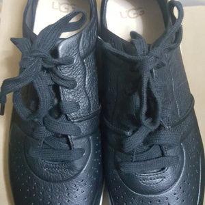 UGG Australia Treadlite Tye Black Leather Sneakers